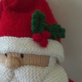 Santa with sack and mini snowman - hand knitted.