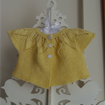 Hand Knit, 6mths, Cotton, Baby Cardi / Shrug / Bolero, Leaves, Yellow