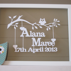 Personalised Baby Papercut