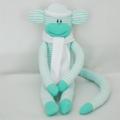 Sock Monkey Kit - Green and White Stripes, Craft Kit, Soft Toy Pattern