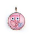 Cute pink and purple owl pendant necklace