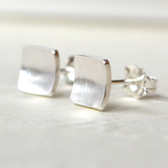 Concave Square Sterling Silver Studs 7mm