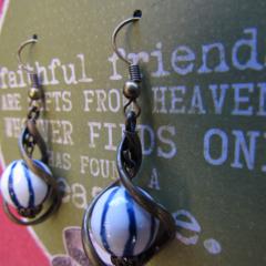 Blue Striped Stone Twist Earrings