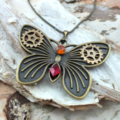 Steampunk butterfly pendant with vintage crystals
