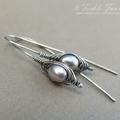 Herringbone Silver and  Lavender Pearl Earrings