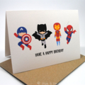 Happy Birthday Card - Boy - 4 Action Superheroes - HBC119