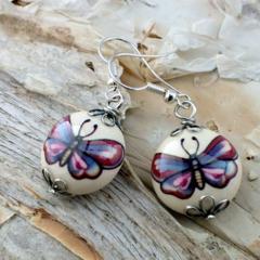 Purple Papillion - ceramic butterfly earrings