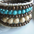 memory wire bracelet brown wooden with ceramic brown and turquoise beads wraps 7