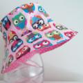 Girls beautiful summer hat in owl fabric