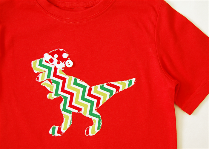 Boys Tshirt Christmas T-Rex Applique | LizzieRose Creations ...