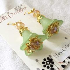Light Green and topaz Flower Earrings