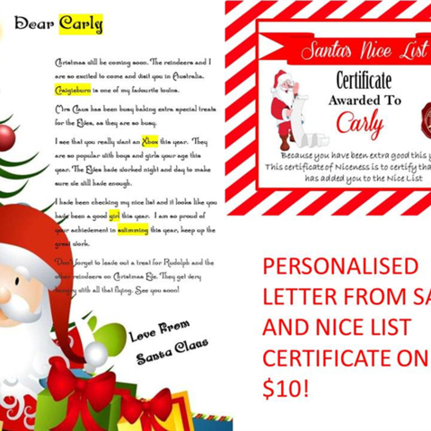 Personalised Santa Letter all ages with Nice List Certificate