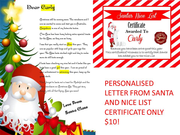Personalised letter and nice list certificate from santa for Nice list santa letter