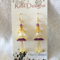Lemon yellow and purple Flower Earrings