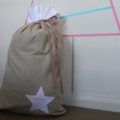 Santa Sack - Raw Linen with White Linen Star Detail and Top