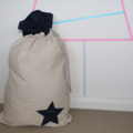 Santa Sack - Raw Linen with Navy Linen Star Detail and Top