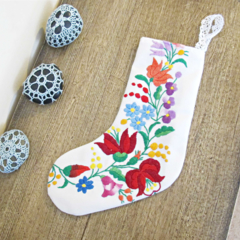 Embroidered Doily Christmas Stocking. Doilies Flowers Linen Cotton White Purple