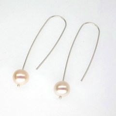White Fresh Water Pearl long sterling silver earrings