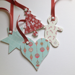 Set of 4 wooden Christmas tags