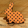 Painted Wooden Bunny Rabbit Brooch