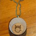 Laser Cut Wooden Owl Pendant Necklace