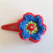 Crochet flower snap hair clip