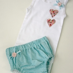 Blue Spotty Nappy Cover and Singlet - size 00