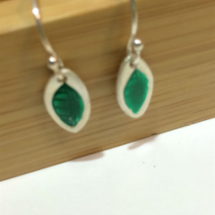 Leafy Green - Fine Silver earrings with Sterling Silver hooks