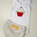 Cupcake Singlet and Rainbow Spots Nappy Cover- size 0