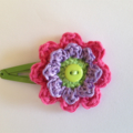 Crochet flower snap hair clip