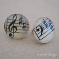 Vintage sheet music post back earrings