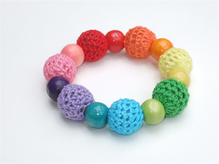 Rainbow Bracelet - Crochet-covered Beads