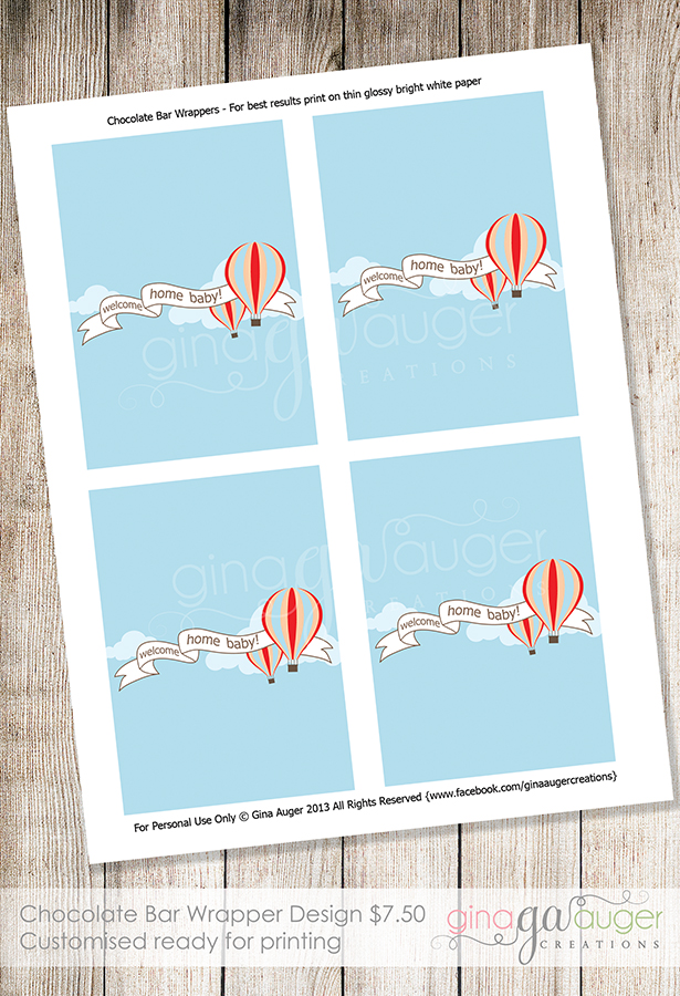 printable chocolate bar wrappers hot air balloon design