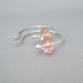 Pink Champagne Faceted Czech Glass and Sterling Silver Hoop Earrings