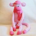 Sock Monkey Craft Kit Pink and White Srtipes