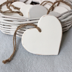 Wooden Heart Decoration White Distressed - Natural Vintage Wedding Nursery