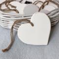Wooden Heart Decoration White Distressed - Natural Vintage Wedding Nursery