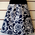 Skirt with Charcoal Flowers on White with Bamboo Stretch Band