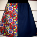 Skirt in Red and Blue with Flowers & Bamboo Stretch Waist