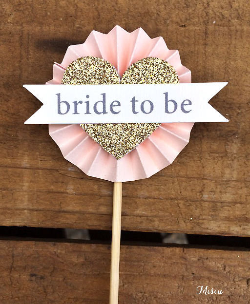 12 bride to be rosette cupcake toppers misiu papier