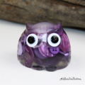 Cute Purple Button Owl - Paperweight / Ornament - Solid Button Filled Resin