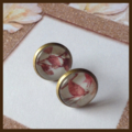 Bronze Cherry blossom cabochon 12mm earrings