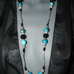 European 925 ceramic beads blue black crystal  necklace discounted