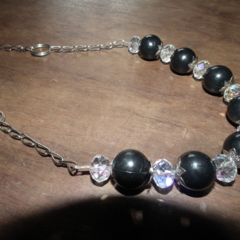 Star of Sparkle...Faceted crystal decorative caps black Vintage beads necklace