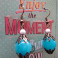 Brass and Blue Stone earrings