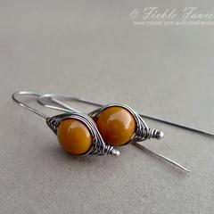 Herringbone Sterling Silver Yellow Mookaite Earrings