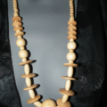 Boho Chic...SALE Wooden tribal  brown beaded ribbed disc necklace
