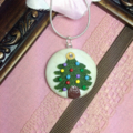 Christmas polymer clay necklace + sterling silver necklace + free shipping