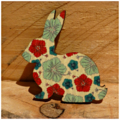 Painted Wooden Flower Bunny Rabbit Brooch