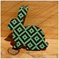 Painted Wooden Flower Bunny Rabbit Brooch